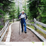 older man backpacking
